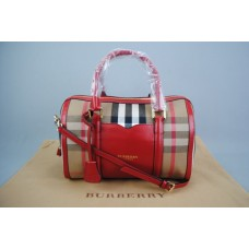 BURBERRY MEDIUM SARTORIAL HOUSE CHECK BOWLING BAG KIRMIZI