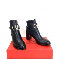 Valentino Grainy Leather Ankle Boots
